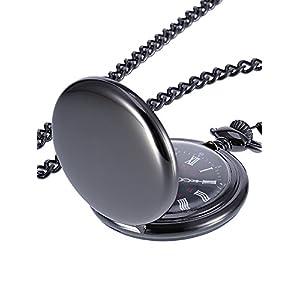 Glatte Antike Quarz Taschenuhr mit Schwarzer Stahlkette