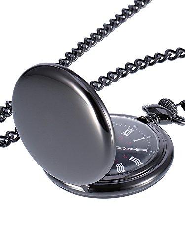 Montre de Poche à Quartz Antique Pocket Watch avec Chaîne en Acier (Noir)