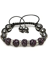 Zebredellas bracelet Genuine Hematite stone beads & Amethyst crystal beads February Birthstone HAND MADE IN BRITAIN