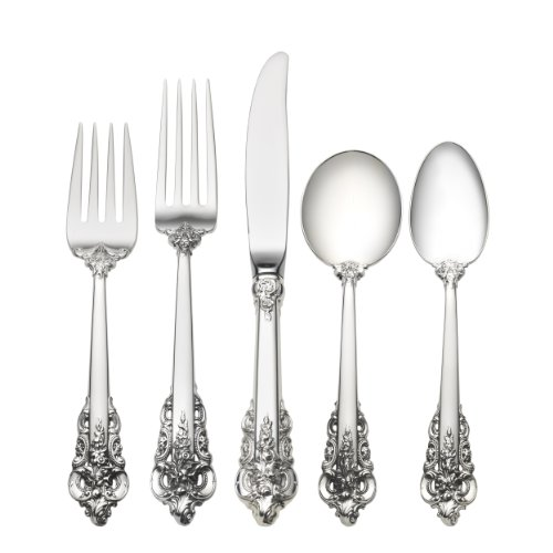 Wallace Grande Baroque 5-Piece Place Setting with Cream Soup Spoon Wallace Sterling Grand Grande