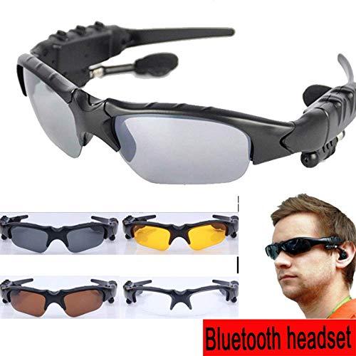 YA Stereo Bluetooth Headset Brille, Subwoofer-Effekt, Unterstützung für 5 Stunden kontinuierliches Spielen, 7-10 Stunden kontinuierliche Musik, schwarzer Rahmen Polarisierte grau-Schwarze Linse