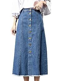 7f9f51f6b2870 Scothen Jupe en Jean pour Femmes Jupe en Jean décontractée Jupes Longues à  la Mode Jupe