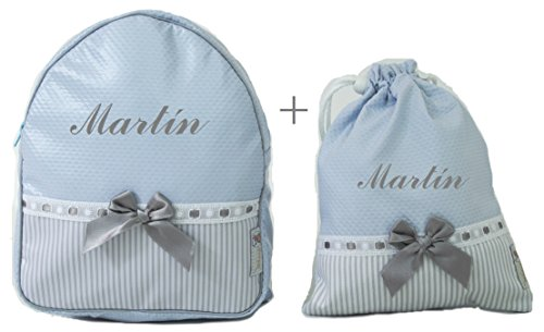 Imagen de bordaymas/conjunto guardería o colegio  + bolsa de merienda lenceras personalizadas con nombre en plastificado y tela celeste, rayas gris y pasacintas gris