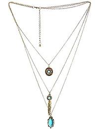 Hosaire Bohemio collar de mujer,moda mujer multicapa retro borla collar de turquesa largo cadena encantos suéter collar accesorios de la joyería