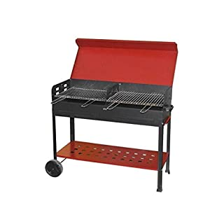 MILLE artigian Iron 501, Big Barbecue Complete Of Double Cooking Grill, Black