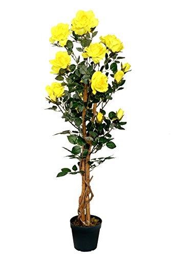 McPalms Rosenbaum gelb 1,20 m Kunstpflanze Kunstrose Kunstblume