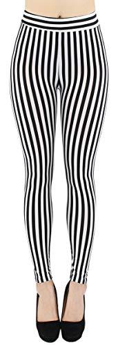 dy_mode Damen Leggings gestreift Schwarze Weiße Streifen - JL058 (JL058-WaistStripes)