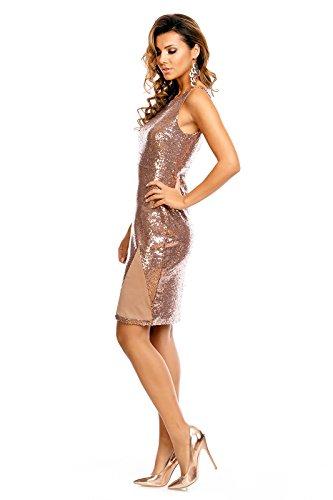 Paillettenkleid de soirée robe de soirée à dos nu avec paillettes brodé kurzarm braun