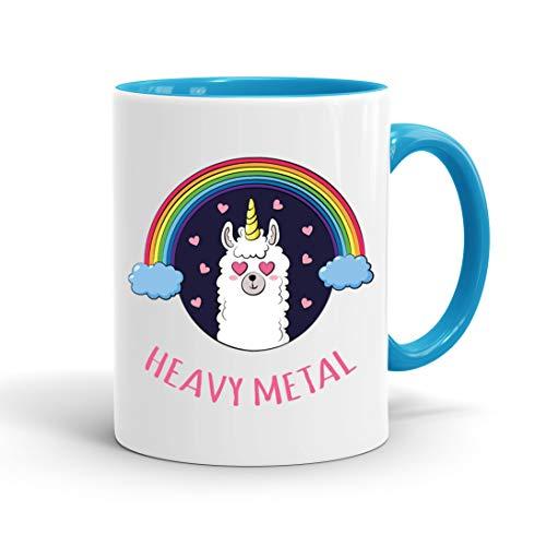 True Statements Lustige Tasse Heavy Metal Lama - Kaffee-Tasse mit Spruch - Geschenk für Mitarbeiter...