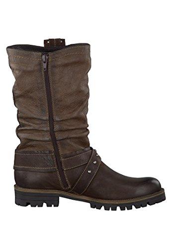 Tamaris Biker Boots marrone con cintura 1-26477-23 338-Cigar Cafe Braun