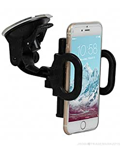Jkobi Universal 360 Degree Rotating Heavy Quality Dual Clip Car / Desk Mount Mobile Holder Windshield Mobile Phone Stand Compitable For Alcatel One Touch Flash -Black