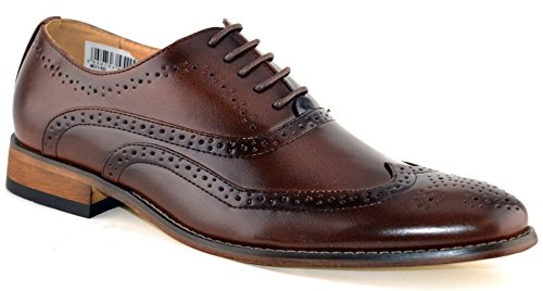 Mens Leather Lined Smart Wedding Lace Up Brogues Formal Dress Shoes Size 6-12 - Brown - UK 7