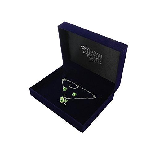 Yparah - Cofanetto regalo da donna con cristalli Swarovski, motivo: trifoglio, colore: verde