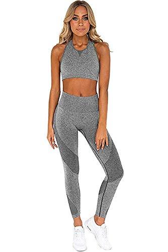 Ducomi gin tuta fitness donna - set leggings e top sportivi per palestra, yoga, joggings e sport - abbigliamento completo sportivo leggins vita alta e top crop sostegno e comfort (grey, m)