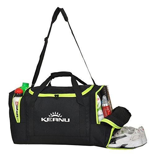 Praktische Sporttasche 50 Liter :: faltbar, Wäschefach, Wertfach :: KEANU Fitness Yoga Sauna :: grosse multifunktionale Tasche für Gym Sport Reise Wellness :: Reisetasche (Auswahl) Schwarz Neon Green
