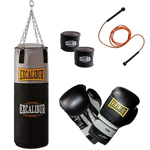 Handgefertigter Boxsack Excalibur Workout - Extrem Robust Und Strapazierbar Dank Reißfestem Nylon - Inklusive Kettenaufhängung, Drehwirbel Und Stabiler Aufhängung, 100cm - Verschiedene Sets (12 Oz)