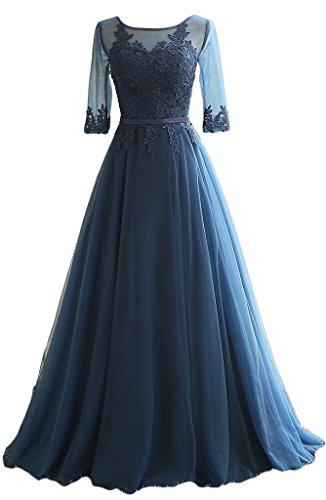 Eudolah Maxi robe de soirée en tulle pailletée parsemée des fleurs demoiselle d'honneur femme Bleu Marine-M