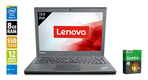 Lenovo ThinkPad X240 | Notebook | Laptop | 12,5 Zoll (1366x768) | Intel Core i5-4300U @ 1,9 GHz | 8GB DDR3 RAM | 250GB SSD | Webcam | Windows 10 Home (Zertifiziert und Generalüberholt)