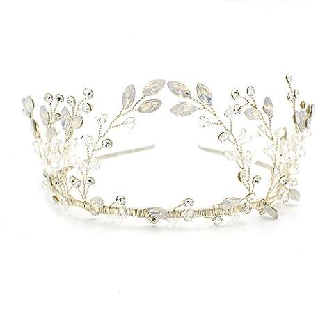 Boho Style Argent Cristal Serre-tête Tiara–Couronne de mariage Coiffe