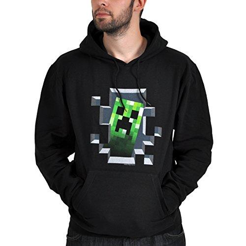Der Kostüme Creeper (JINX Minecraft Creeper Innen-Kapuzenpullover, Schwarz,)