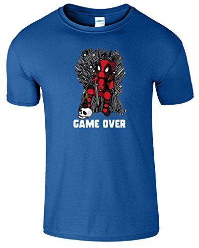 Deadpool Herren Thrones Parodie Spiel Zu Ende Kinder T-Shirt Royablau
