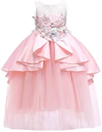 LPATTERN Enfant Fille Robe de Princesse avec Ceinture à Fleur Robe de  Demoiselle en Tulle Robe 40495d608b5