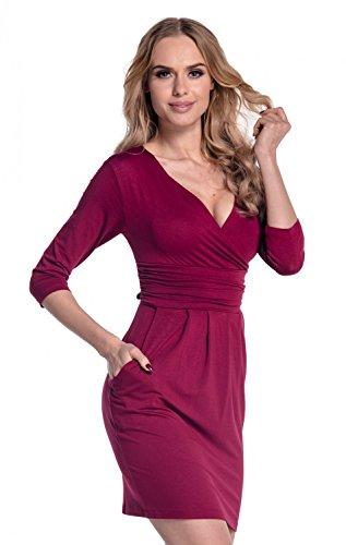 Glamour Empire. Damen Jersey Gerafftes Tulpenkleid mit Taschen Gr. 38-48. 236 Purpur