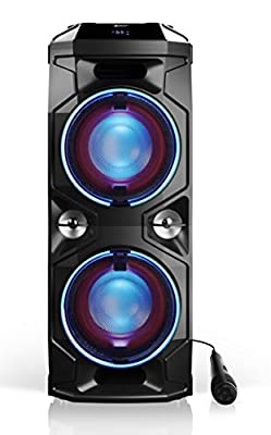 SHARP PS-940 180W High Power Portable Party Speaker with Built-in Rechargeable Lithium-Ion Battery (up to 14 hrs), Flashing Disco Lights, Bluetooth Sharing/Network, USB, Microphone & DJ Controls from Sharp