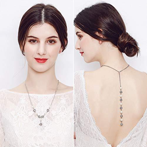hopewey Zurück Halskette Perlen Quaste Kulisse Halskette Körper Kette Hochzeit Schmuck Rückenfreies Kleid Zubehör Rhinestone-Hochzeits HW NS-J5907