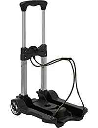 Italish Folding Hand Luggage Trolley Travel Hard Plastic Luggage Cart-Black