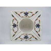 11,4cm marmo posacenere lapislazzuli pietre semipreziose intarsio Royal work, legno Taj Mahal Art Shape Sqare