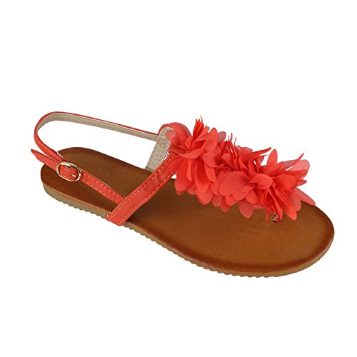 Senhoras Toe Trenner Flores Sandálias Reluzentes Sapatos De Verão Creme Coral
