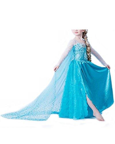 Vogueeasy Eiskönigin Prinzessin Elsa Anna Kostüm Kinder Glanz Kleid Mädchen Weihnachten Verkleidung Karneval Party Halloween Fest Kostüm 110