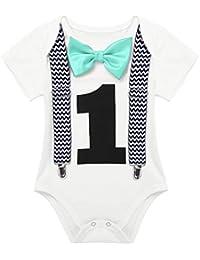 iiniim Pelele Cumpleaños 1 Año Niño Niña Mameluco Unisex Mono Mangas Cortas Pajarita Ropa algodón para Bebé Recien Nacido Traje de Fiesta Boda Conjunto Infantil