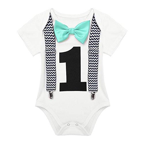 Tiaobug Geburtstag Baby - 1. Geburtstag Junge Erster - Baby Body Kurzarm Jungen Festliche Kleidung Geburt Party Outfit Fotoshooting Kostüm Mint grün 80/12 Monate