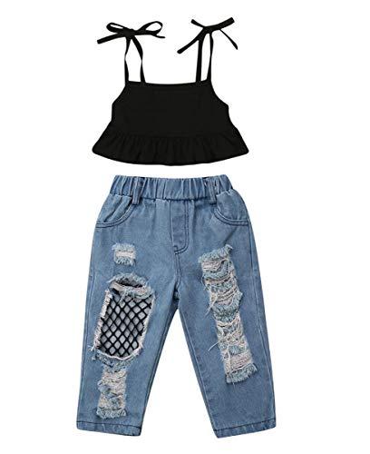 Folge set di jeans strappati a canotta per bambini (90, nero + blu)