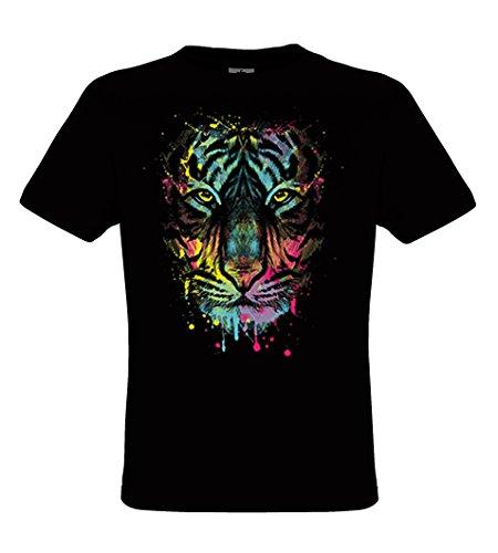 DarkArt-Designs Dripping Tiger - Tiger T-Shirt für Kinder und Erwachsene - Tiermotiv Shirt Wildlife Party&Freizeit Lifestyle regular fit Black