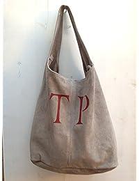 Bolso saco de piel de serraje personalizado