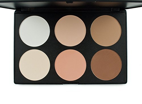 Butterme Professional 6 Colors Makeup Contour Kit Highlight and Bronzing Powder Palette - Cosmetic Contour Camouflage Concealer Face Powder Palette Set by Butterme - Highlight Kit