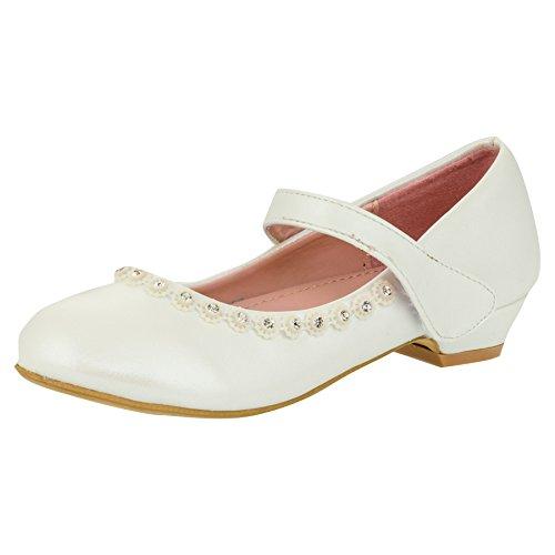 Max Shoes Festliche Mädchen Pumps Schuhe Ballerinas Lackoptik Strass Blumen Hochzeit Feier M128pews Perlmutt Weiß 27 EU/Fußlänge 16,7 cm