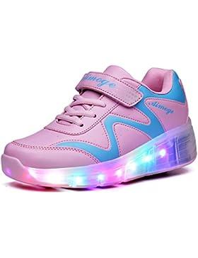 LED Zapatos con Sola Ruedas Niños Niñas Led Luz Parpadea Zapatos Zapatillas de Roller Gimnasia Sneakers