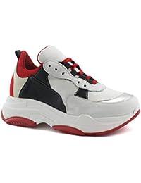 Divine Follie 999-76 Bianco Rosso Nero Scarpe Donna Sneakers Lacci Pelle  Suola Alta d3532167c44