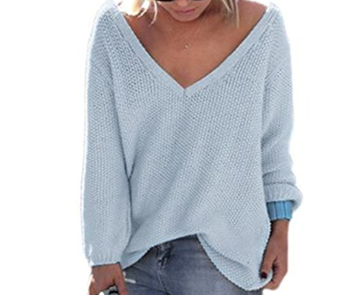 WOCACHI Damen Pullover Frauen Langarm-Strickpullover lose Strickjacke Pullover Sweater Tops Strick (XL, Blau)
