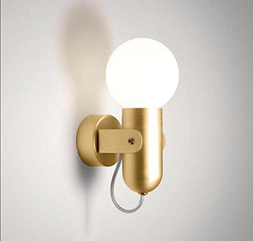 Modern Kreative Wandleuchten Metall Design Kinderlampe Eisen Wandlampe Schlafzimmer Flur Kinderzimmer Wandbeleuchtung Klassisch Schlummerlampe Dekoleuchten E27 11CM×11CM Gold