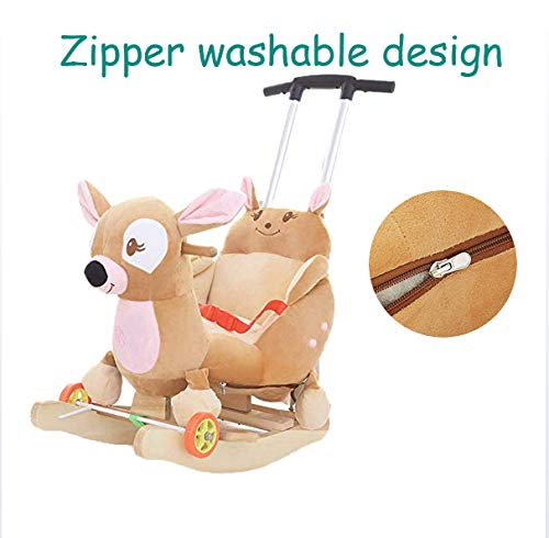 JTYX Baby Trojan Toy Rocking Chair Rocking Cradles Music Animal Rocking Horse Birthday Gift JTYX ★ Convenient and practical: This product allows the baby to exercise, grasp, climb, kick, squat, shake, etc., so that the baby can play easily. ★Removable design: The seat cover is detachable, easy to clean, safe in material and does not fade. Made of solid wood and plush, it is more comfortable and safer. ★Universal silent wheel design: 360° rotation, flexible, no damage to the floor, no noise, suitable for all kinds of road surface, scientific swing, anti-rollover, safer, adjustable safety buckle design, adjustable length, practicality, energy Effectively prevent your baby from falling and getting hurt 5