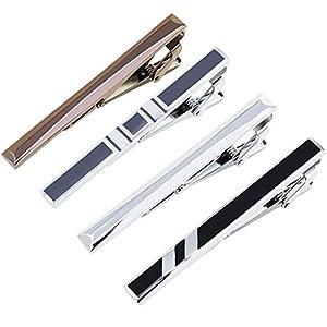 Coolty 4-er Packung Krawattenklammer, Krawattennadel Tie Clips Set mit Geschenkbox ideales Valentinstag Weihnachten Geschenk für Herren