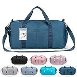 FEDUAN das Original, Sporttasche Reisetasche modisch wasserdicht mit Schuhfach Nassfach für Damen und Herren Yoga Pilates Strand Freizeit Sauna Gym-Tasche Shopping-Bag Weekender Urlaub dunkel-blau