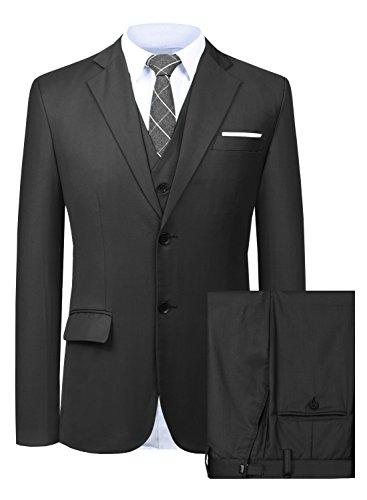 Hanayome Men's 3 Pc Grey Business Suit Formal Tuxedo Casucal Separate Pant Set 2018 (Black,38)