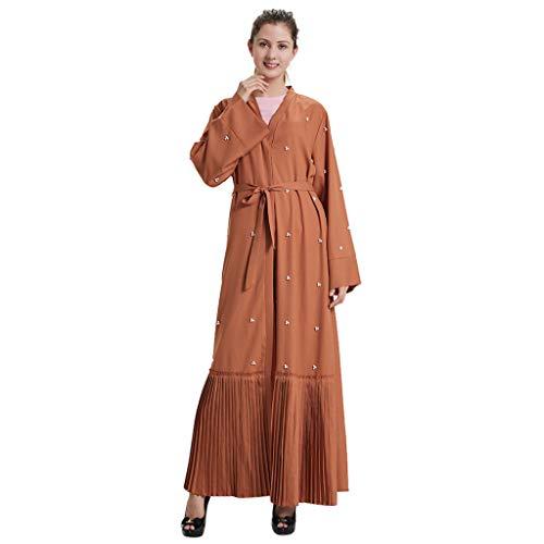 Hanomes Kimono Robe Damen Cardigan Sommer Muslimischer Kleider Dubai Frauen Pearl Open Kaftan Muslim Langes Maxikleid Arabische Abaya Cardigan Vintage Kostüm ()