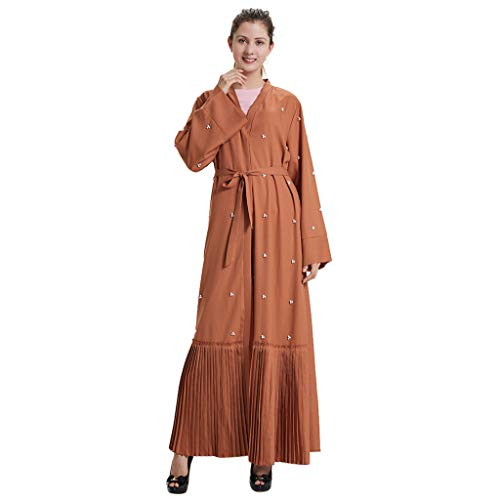 cinnamou Muslimische Robe Wolljacke Saudi Indonesische Womens Orientalische Kostüm Wolljacke Dubai Frauen Pearl Open Kaftan Muslim Langes Maxikleid Arabische Abaya Kimono Cardigan